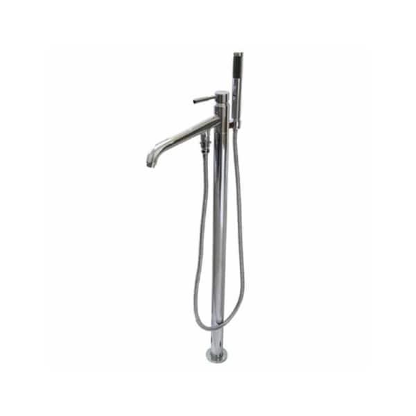 Freestanding Chrome Floor-mount Bathtub Filler with Handshower