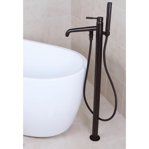 Freestanding Oil Rubbed Bronze Floor-mount Bathtub Filler with Handshower