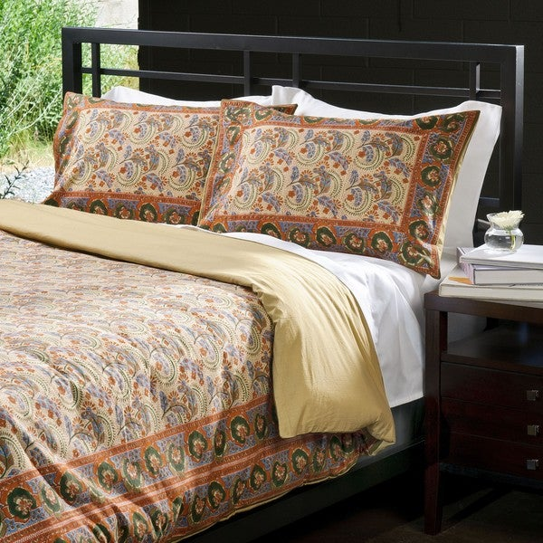 Cotton Feathers and Leaf Print Duvet Cover Set (India)