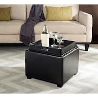 Safavieh Black Square Storage Tray Ottoman