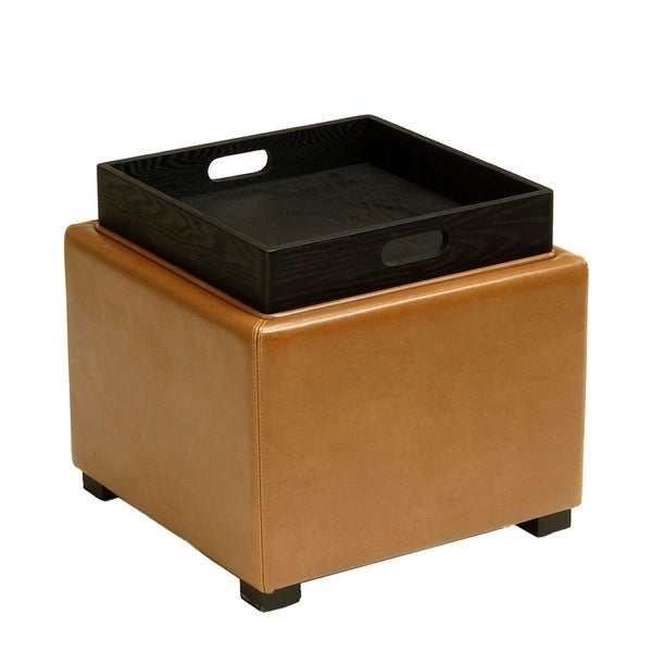 Shop Safavieh Saddle Square Storage Tray Ottoman On Sale