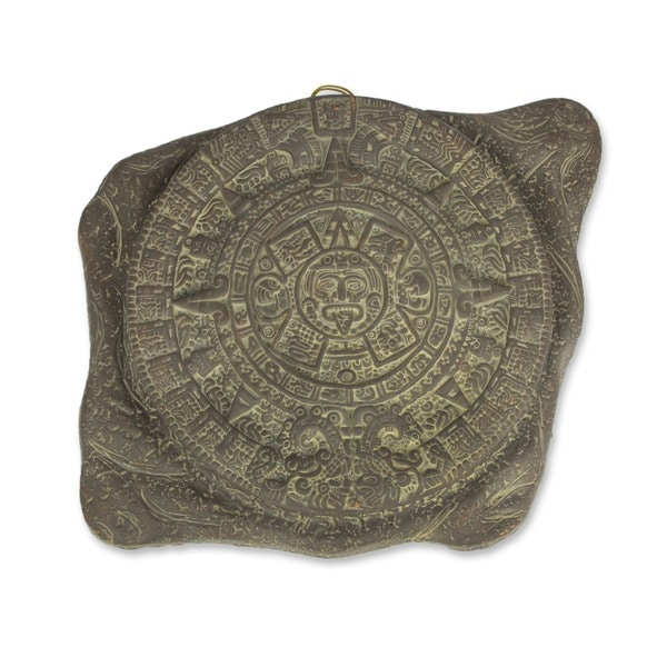 'Aztec Sun Stone' Ceramic Figurine (Mexico)