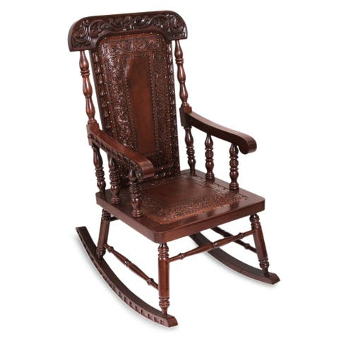 Handmade Nobility Cedar and Leather Rocking Chair (Peru)