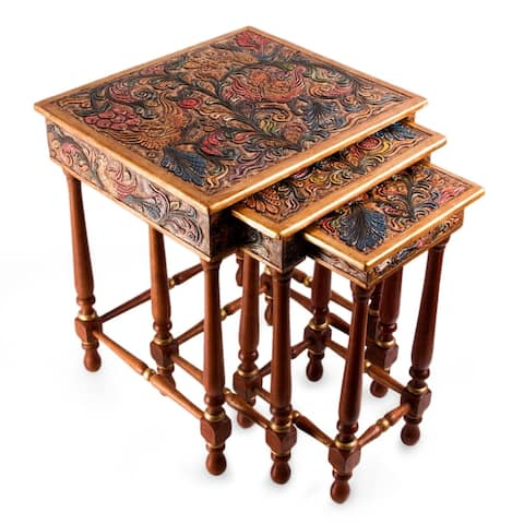 Traditional Hand Painted Multicolor Tooled Leather with Cedar Wood (Set of 3)