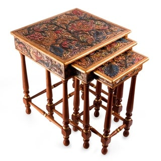 Handmade Traditional Hand Painted Multicolor Tooled Leather with Cedar Wood (Set of 3) Rectangular Nesting End Tables (Peru)