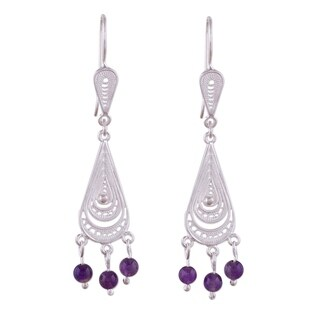 Handmade 'Constellations' Amethyst Earrings (Peru)
