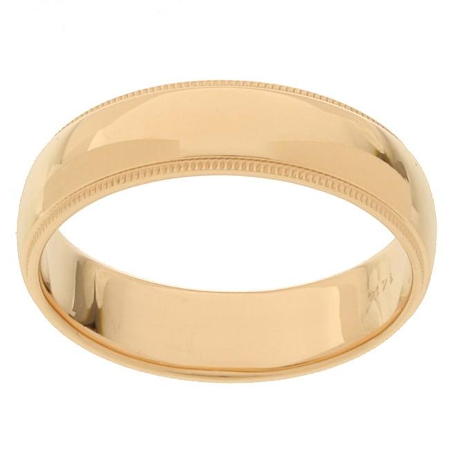 14k Yellow Gold Men's Milligrain 6-mm Wedding Band