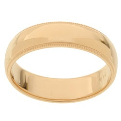 14k Yellow Gold Men's Milligrain 6-mm Wedding Band