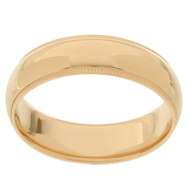 10k Yellow Gold Men's Milligrain 6-mm Wedding Band - Thumbnail 0