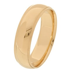 10k Yellow Gold Men's Milligrain 6-mm Wedding Band - Thumbnail 1