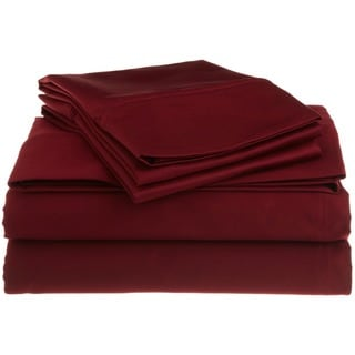 Superior Egyptian Cotton 1200 Thread Count Solid Deep Pocket Sheet Set (Burgundy - King)