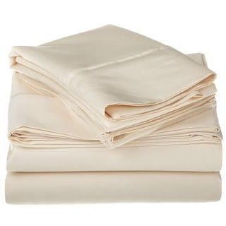 Superior Egyptian Cotton 1200 Thread Count Solid Deep Pocket Sheet Set (Ivory - California King)
