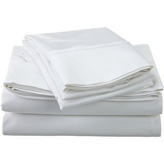 Superior Egyptian Cotton 1200 Thread Count Solid Deep Pocket Sheet Set (White - California King)