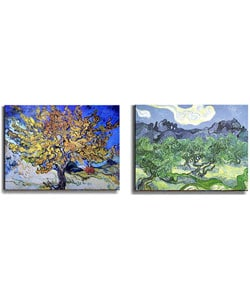 Van Gogh Mulberry and Olive Trees Canvas Art (2-piece Set)