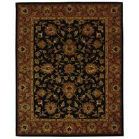 "Safavieh Handmade Heritage Traditional Kerman Black/ Peach Wool Rug - 7'6"" x 9'6"""