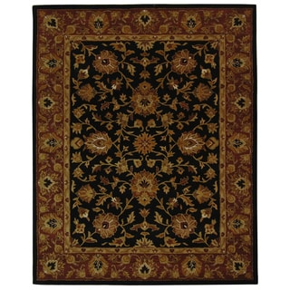 Safavieh Handmade Heritage Traditional Kerman Black/ Peach Wool Rug (7'6 x 9'6)