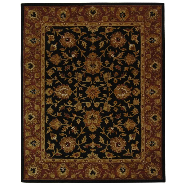 Safavieh Handmade Heritage Traditional Kerman Black/ Peach Wool Rug - 7'6 x 9'6
