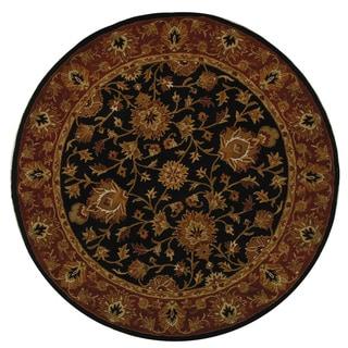 Safavieh Handmade Heritage Traditional Kerman Black/ Peach Wool Rug (8' Round)