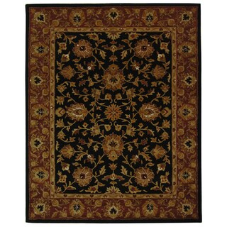 Safavieh Handmade Heritage Traditional Kerman Black/ Peach Wool Rug (8'3 x 11')