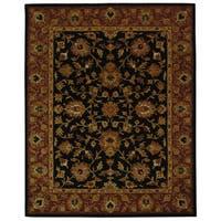 Safavieh Handmade Heritage Traditional Kerman Black/ Peach Wool Rug - 8'3 x 11'