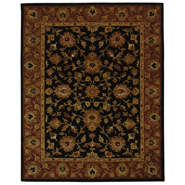 Safavieh Handmade Heritage Traditional Kerman Black/ Peach Wool Rug - 9'6 x 13'6