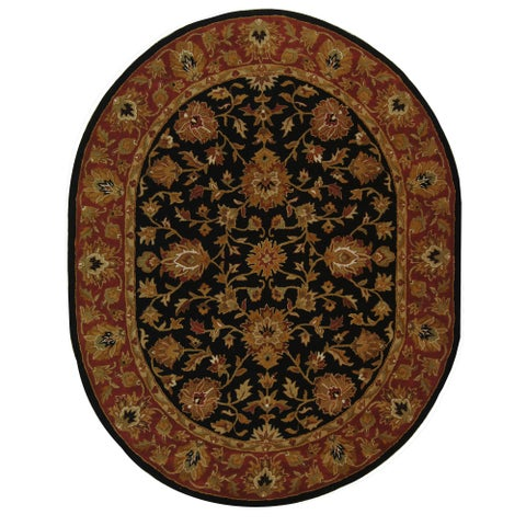 "Safavieh Handmade Heritage Traditional Kerman Black/ Peach Wool Rug - 7'6"" x 9'6"" Oval"