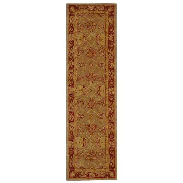 Safavieh Handmade Anatolia Oriental Traditional Grey/ Rust Hand-spun Wool Runner Rug - 2'3 x 8'