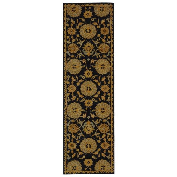 Safavieh Handmade Anatolia Oriental Medallions Navy Hand-spun Wool Runner (2'3 x 12')