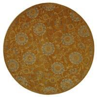 Safavieh Handmade Anatolia Oriental Medallions Gold Hand-spun Wool Rug - 6' x 6' Round