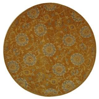 Safavieh Handmade Anatolia Oriental Medallions Gold Hand-spun Wool Rug (8' Round)