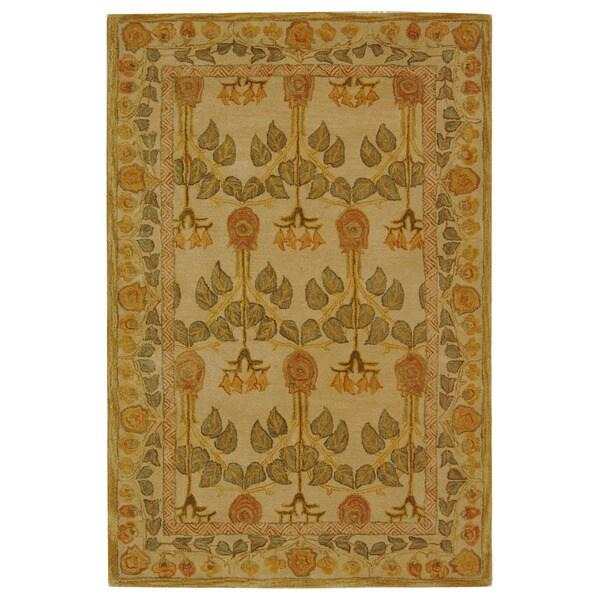 Safavieh Handmade Anatolia Oriental Traditional Ivory/ Green Hand-spun Wool Rug (4' x 6')