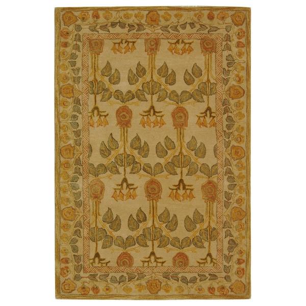 Safavieh Handmade Anatolia Oriental Traditional Ivory/ Green Hand-spun Wool Rug (5' x 8')