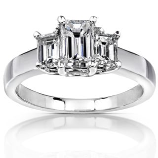 Annello 14k White Gold 1 1/4ct TDW Emerald-cut Diamond Ring (H-I, SI1-SI2)