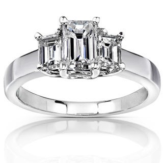 Annello by Kobelli 14k White Gold 1 1/4ct TDW Emerald-cut Diamond Ring