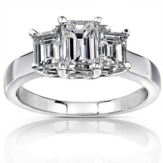 Annello by Kobelli 14k White Gold 1 3/4ct TDW Emerald-cut Diamond Ring ( H-I, SI )