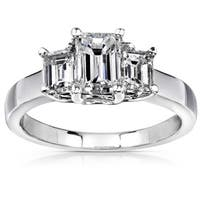 Annello by Kobelli 14k White Gold 1 5/8ct TDW Emerald-cut Diamond Ring ( H-I, SI )