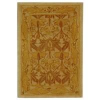Safavieh Handmade Anatolia Oriental Traditional Beige/ Gold Hand-spun Wool Rug (2' x 3')