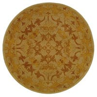 Safavieh Handmade Anatolia Oriental Traditional Beige/ Gold Hand-spun Wool Rug - 8' x 8' Round