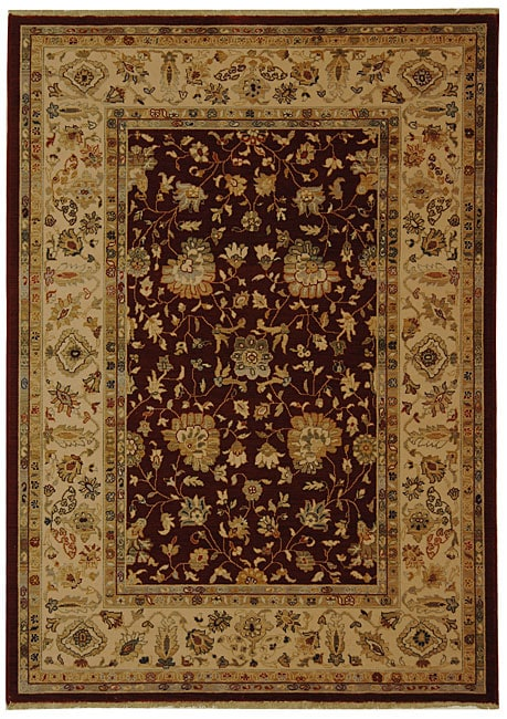 Safavieh Handmade Kashan Red/ Ivory New Zealand Wool Rug (5'3 x 7'7)