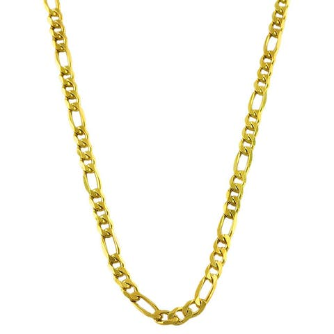 Fremada 14k Gold Overlay Sterling Silver Figaro Chain Necklace