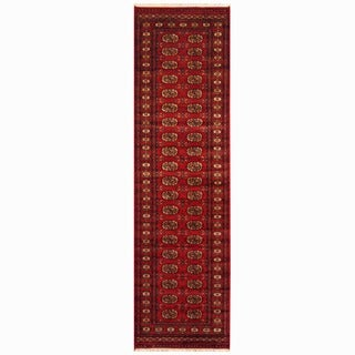 Pakistani Hand-knotted Red/ Ivory Bokhara Wool Runner (2'6 x 10')