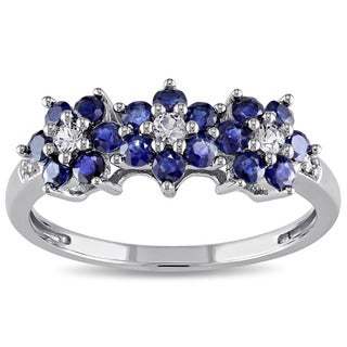Miadora 10k White Gold Blue Sapphire Flower Ring