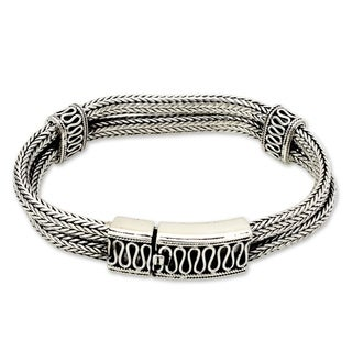 Rivers Of Life Handmade Vintage Style Traditional Clothing Accessory Bali Braided Sterling Silver Jewelry Bracelet (Indonesia)