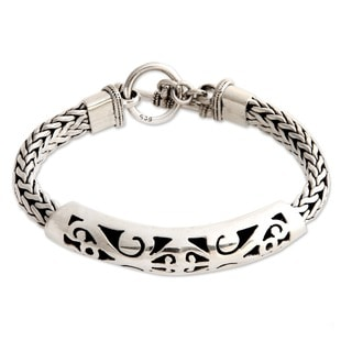 Mystic Symbols Ornate Fretwork and Braided Chains Capped by Toggle Clasp in 925 Sterling Silver Womens Bracelet (Indonesia)