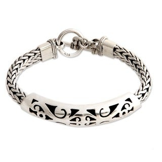 Handmade Mystic Symbols Ornate Fretwork and Braided Chains Sterling Silver Bracelet (Indonesia)