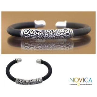Handmade Frangipani Elongated Traditional Balinese Tube Bead on Black Rubber Cuff Bracelet (Indonesia)