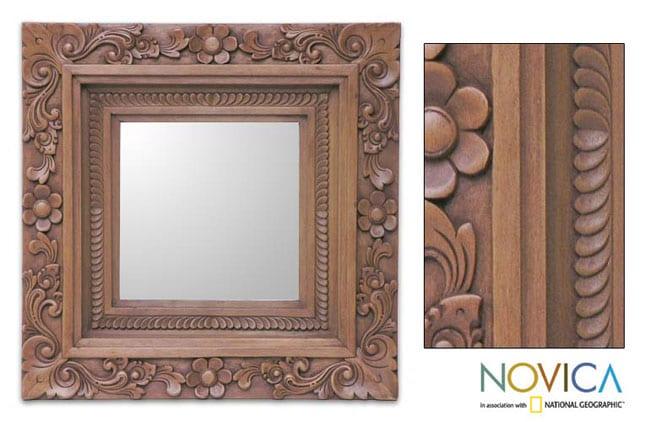 Handmade 'Frangipani' Mirror (Indonesia)