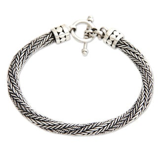 Unity Handmade Modern Multi Style Twisted Chain with Ornate Toggle Clasp Closure 925 Sterling Silver Mens Bracelet (Indonesia)