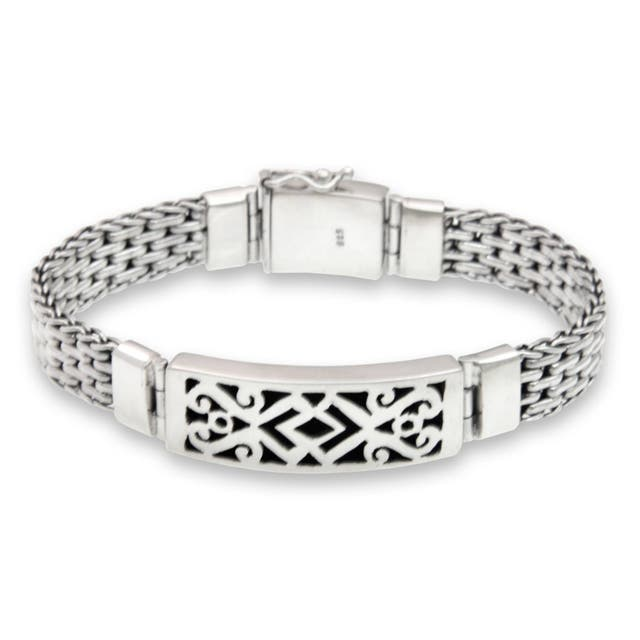 Men's 'Balinese Warrior' Fretwork Sterling Silver Plaque-style Bracelet
