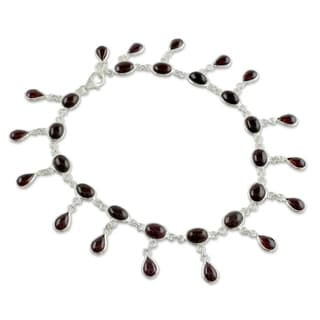 Handmade Scarlet Red Garnet Anklet (India)